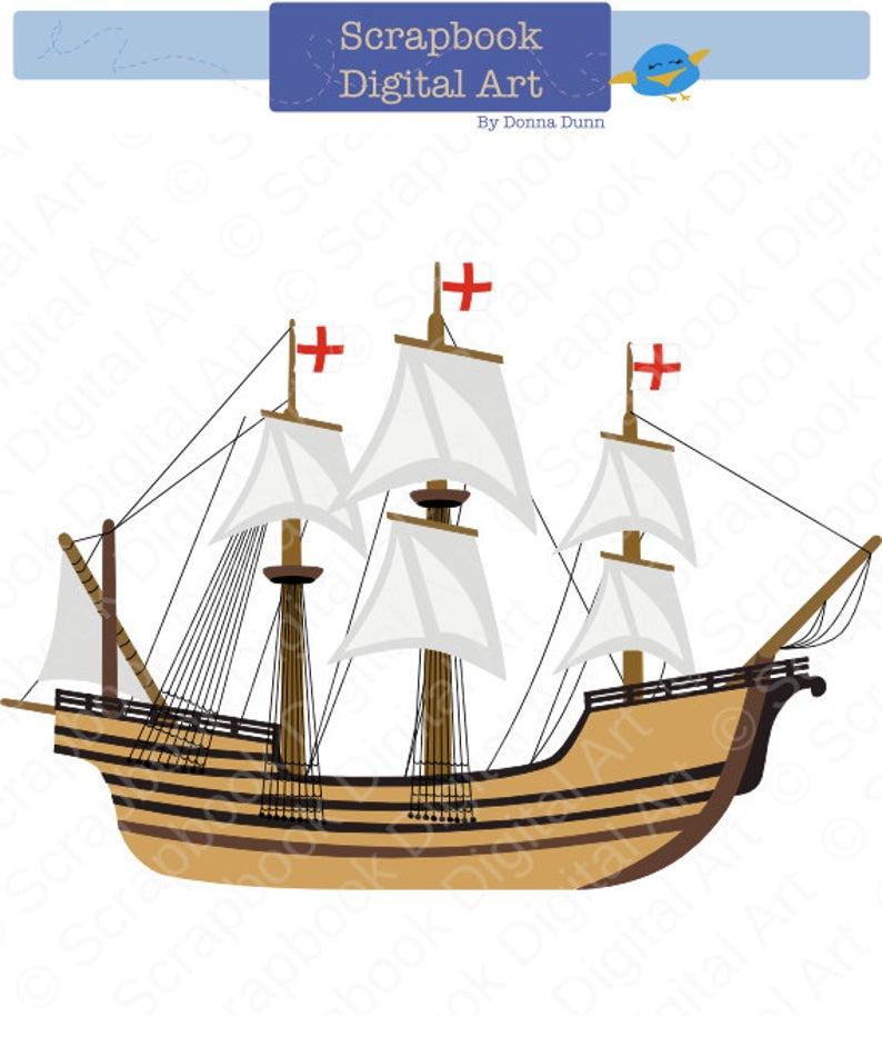 Mayflower Digital Clip Art. Carabela clipart. Caravel clipart. Barco, La  nina, La Pinta, La Santa Maria..