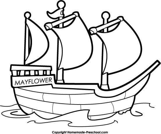 Mayflower Black And White Clipart.