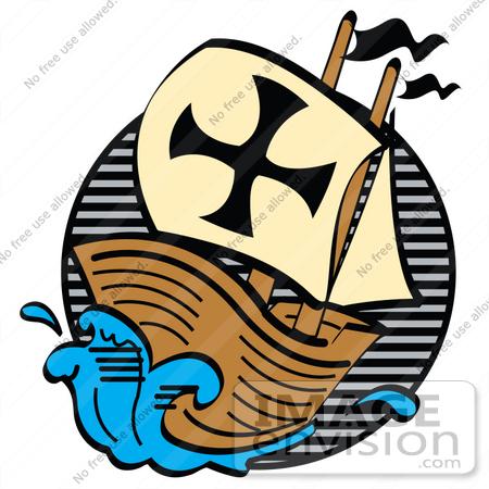 Clip Art Graphic of The Pilgrim Mayflower Ship Sailing Through.