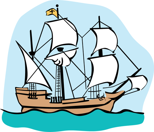 Cartoon Sailing Ship Design Shading Curtain Blackout: Mayflower Clipart