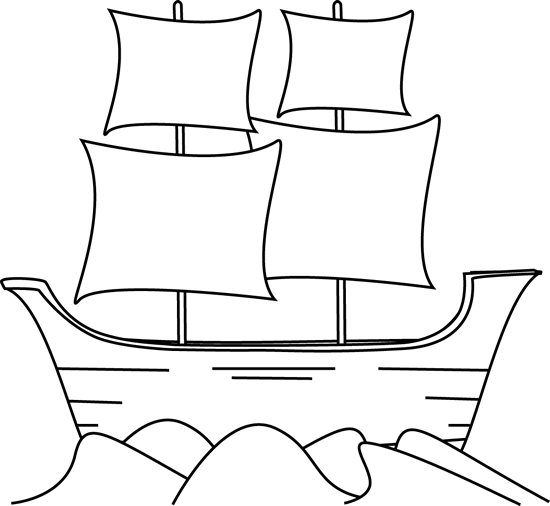 Cute black and white mayflower clipart.