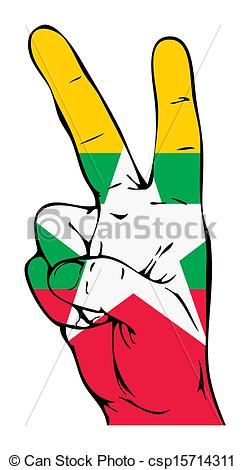 Vector Clip Art of Peace Sign of the Myanmar flag csp15714311.