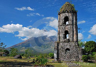 Mayon Volcano With Cagsawa Church Ruins Stock Illustration.