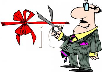 Royalty Free Cartoon Clipart Image: Mayor at a Ribbon Cutting Ceremony.