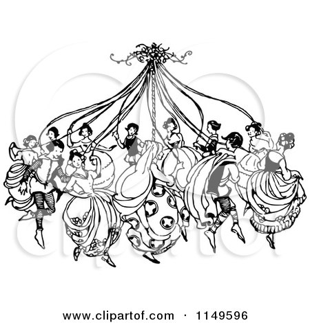 Clipart of Retro Vintage Black and White People Dancing.