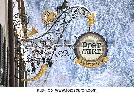 Stock Image of Ornate Ironwork Sign Mayrhofen Austria aus.