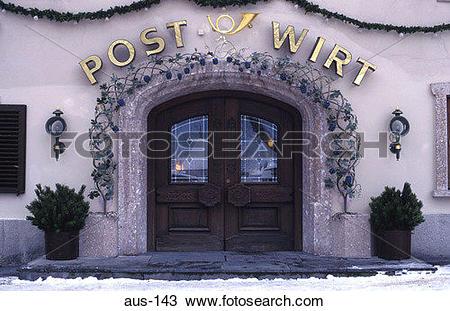 Stock Photo of Entrance to Restaurant Mayrhofen Austria aus.