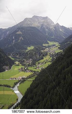 Picture of mayrhofen, tyrol, austria; view of the town from a.