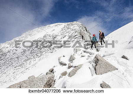 """Stock Images of """"Mountaineers descending from Loffler, here at the."""