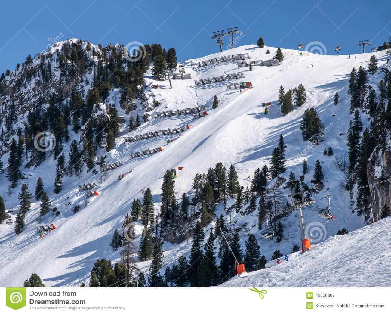 Ski Piste In Mayrhofen Stock Photo.