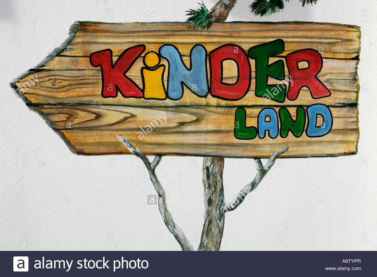 Sign To The Kinderland (children's Area) In The Skiing Region.
