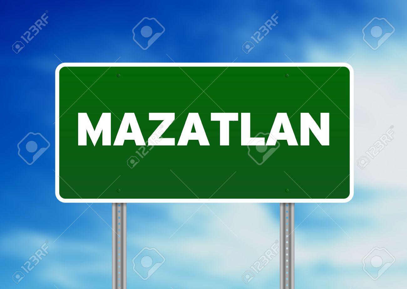 Green Mazatlan, Mexico Highway Sign On Cloud Background. Stock.