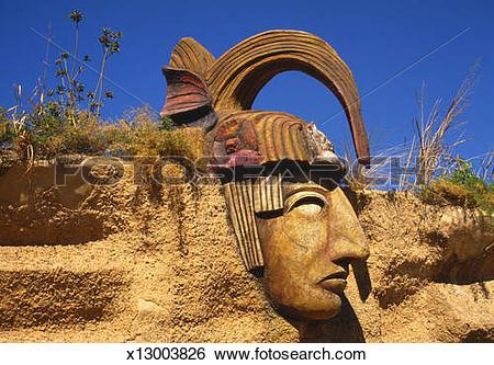 Stock Images of Mayan Statue, Mazatlan, Mexico x13003826.