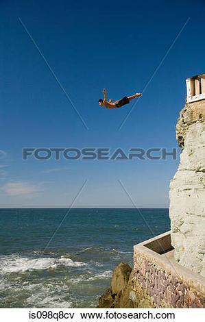 Picture of Cliff diver at mazatlan is098q8cv.
