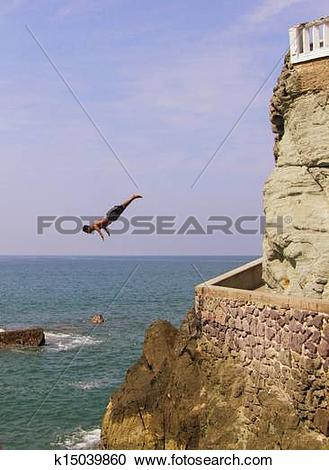 Stock Photography of Cliff Divers of Mazatlan 1 k15039860.