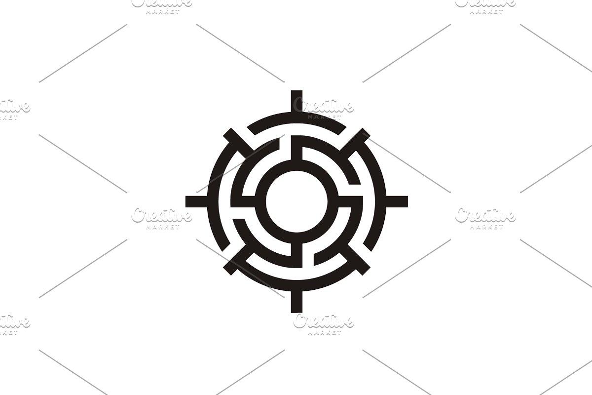 Labyrinth Compass Maze logo design.