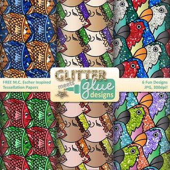 MC Escher Tessellation Paper {Scrapbook by Glitter Meets Glue.