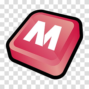 D Cartoon Icons II, McAfee, pink and white letter M art.