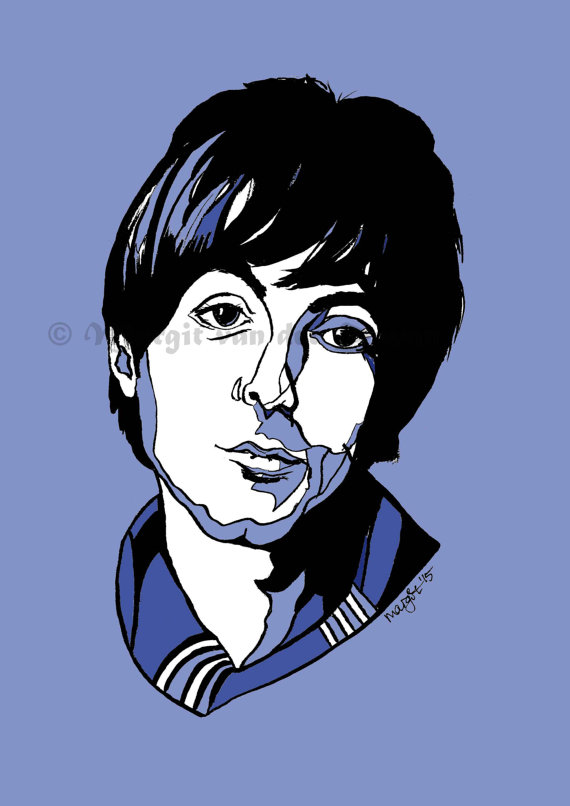 Paul McCartney Handmade Pen and Ink Drawing of Pop Icon The.