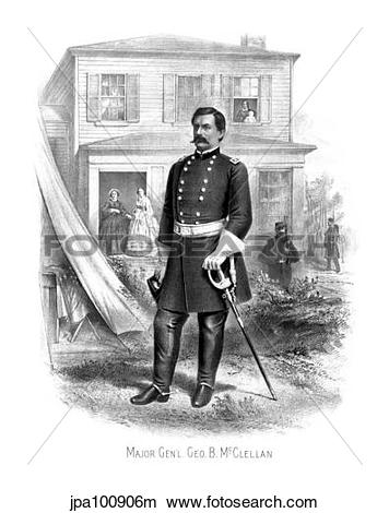 Drawings of Vintage Civil War print of General George McClellan at.