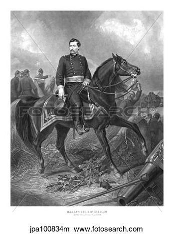 Drawings of Vintage Civil War print of Union General George.