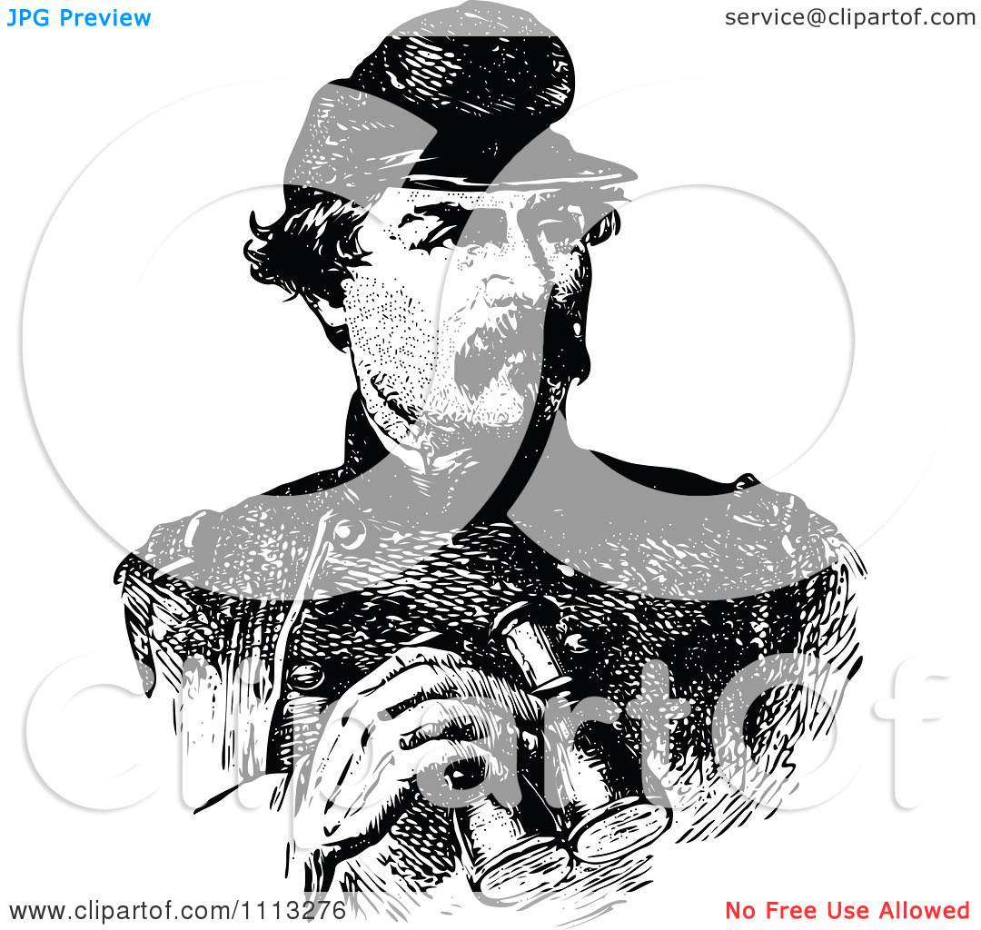 Clipart Vintage Black And White Portrait Of General George.