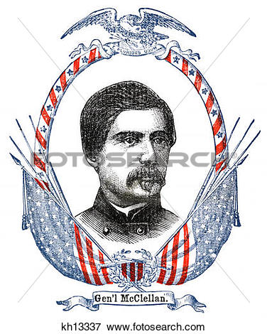 Picture of 1800S 1860S General Mcclellan Portrait Surrounded By.