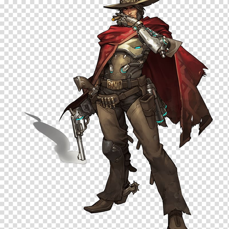 Anime man character holding revolver illustration, McCree.