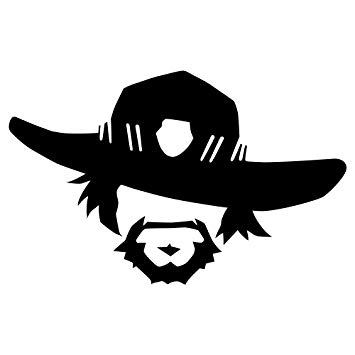 McCree Face Art Wall Poster Game Overwatch Wall Vinyl Decal.