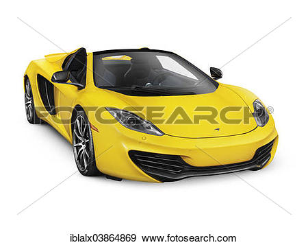 Stock Photograph of Yellow 2014 McLaren MP4 12C convertible sports.