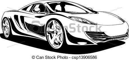 Vector of My original sport car design in black and white.