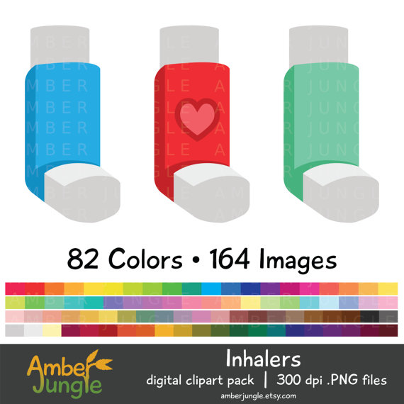 Inhaler Clipart Asthma Clip Art for Planner by AmberJungle on Etsy.