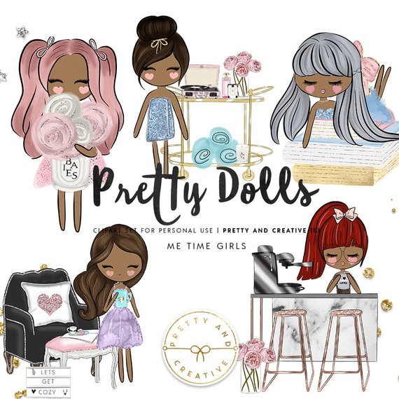 Me Time Pretty Dolls, Clipart Set, Pampering, Pamper Clipart.