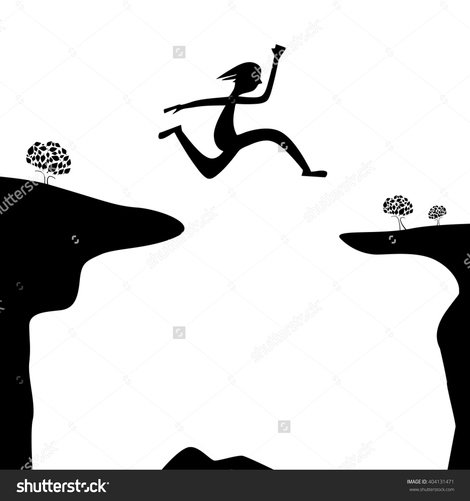 Jump Over Abyss Jumping Man Woman Stock Vector 404131471.