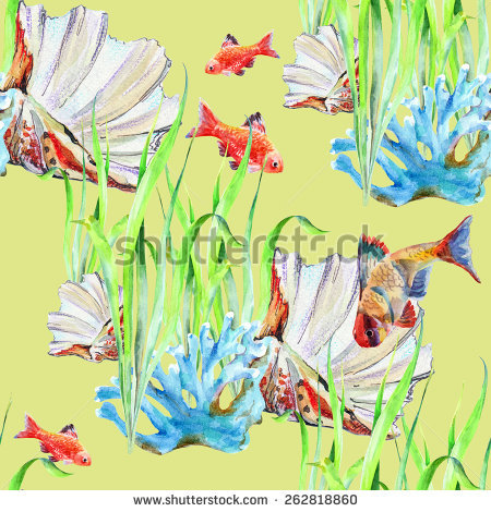 Childs Painting Tropical Fishes Blue Sea Stock Illustration.