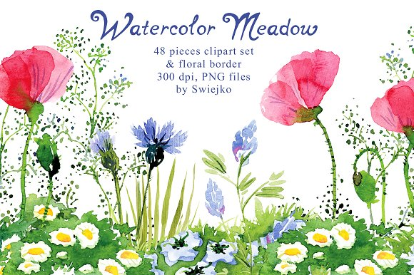 Watercolor Meadow clipart ~ Illustrations on Creative Market.