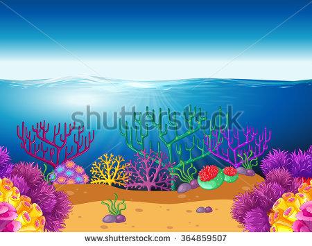 Seamless Underwater Landscape Cartoon Style Fish Stock Vector.