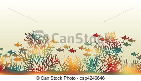 Clip Art Vector of Color coral.