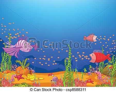 Vector Clip Art of Cartoon Ocean.