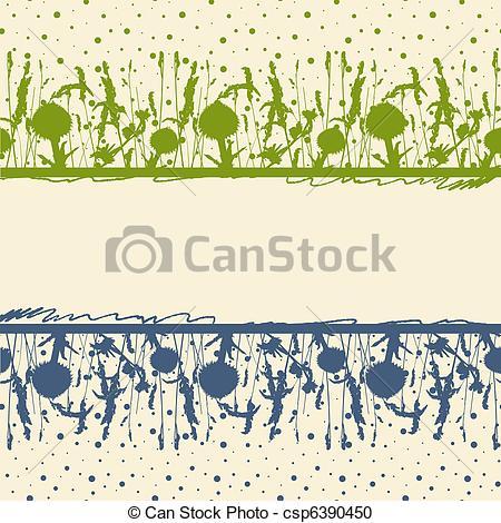 Vector Clipart of Meadow herbs frame. Vector illustration.