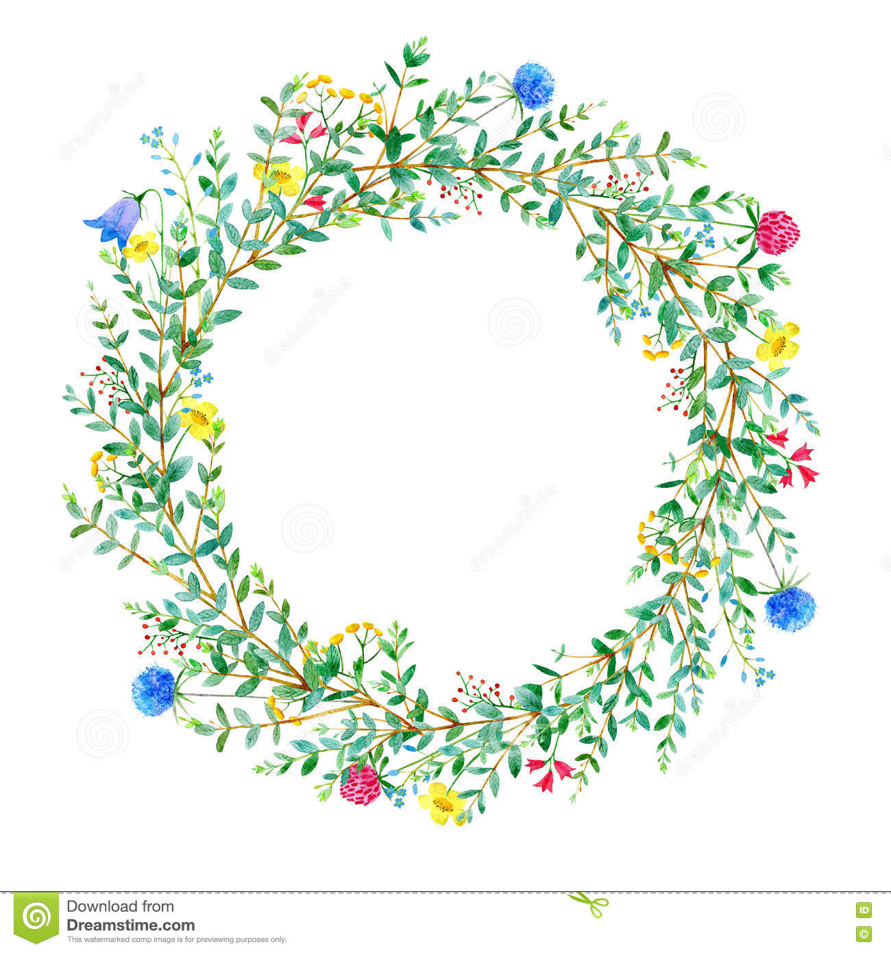 Garland With Meadow Herbs And Eucalyptus Branches. Stock.
