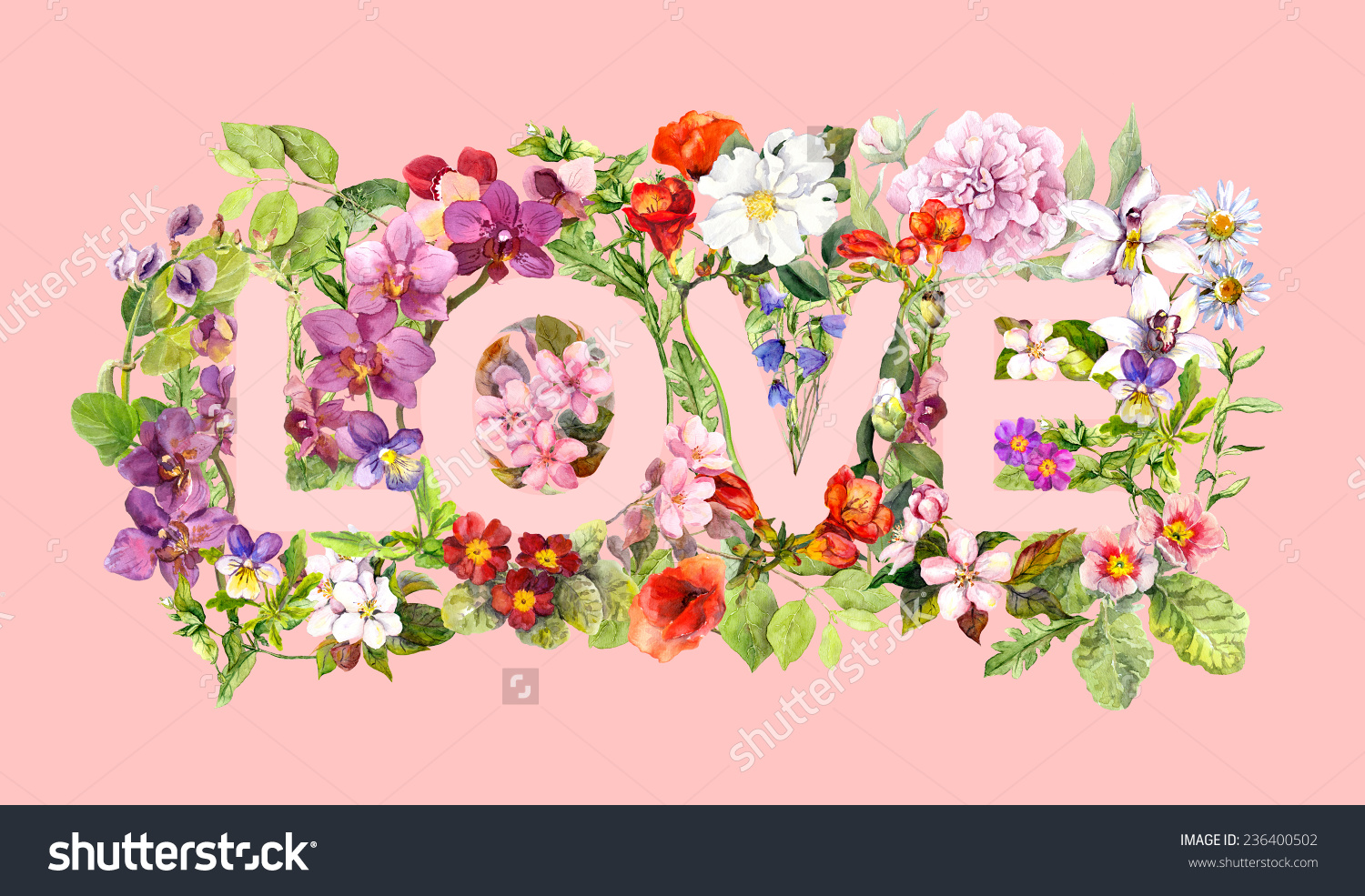 Letter Love Many Flowers Leaves Meadow Stock Illustration.