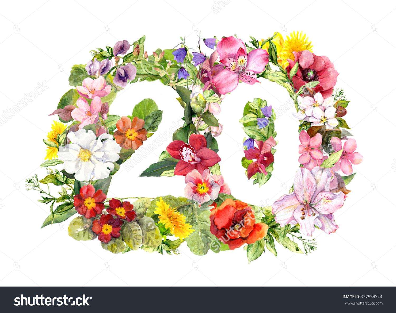 Floral Number 20 Twenty Flowers Meadow Stock Illustration.