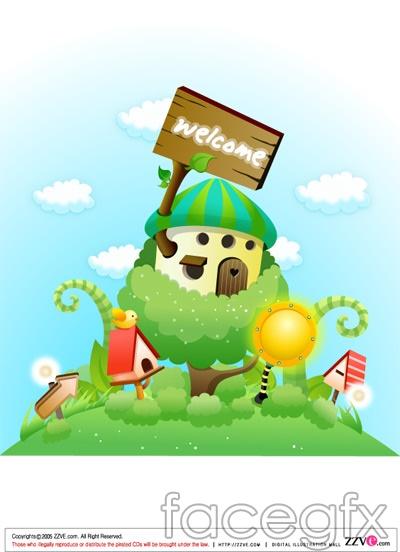 Cute cartoon scene, meadow Mushroom Magic vector.