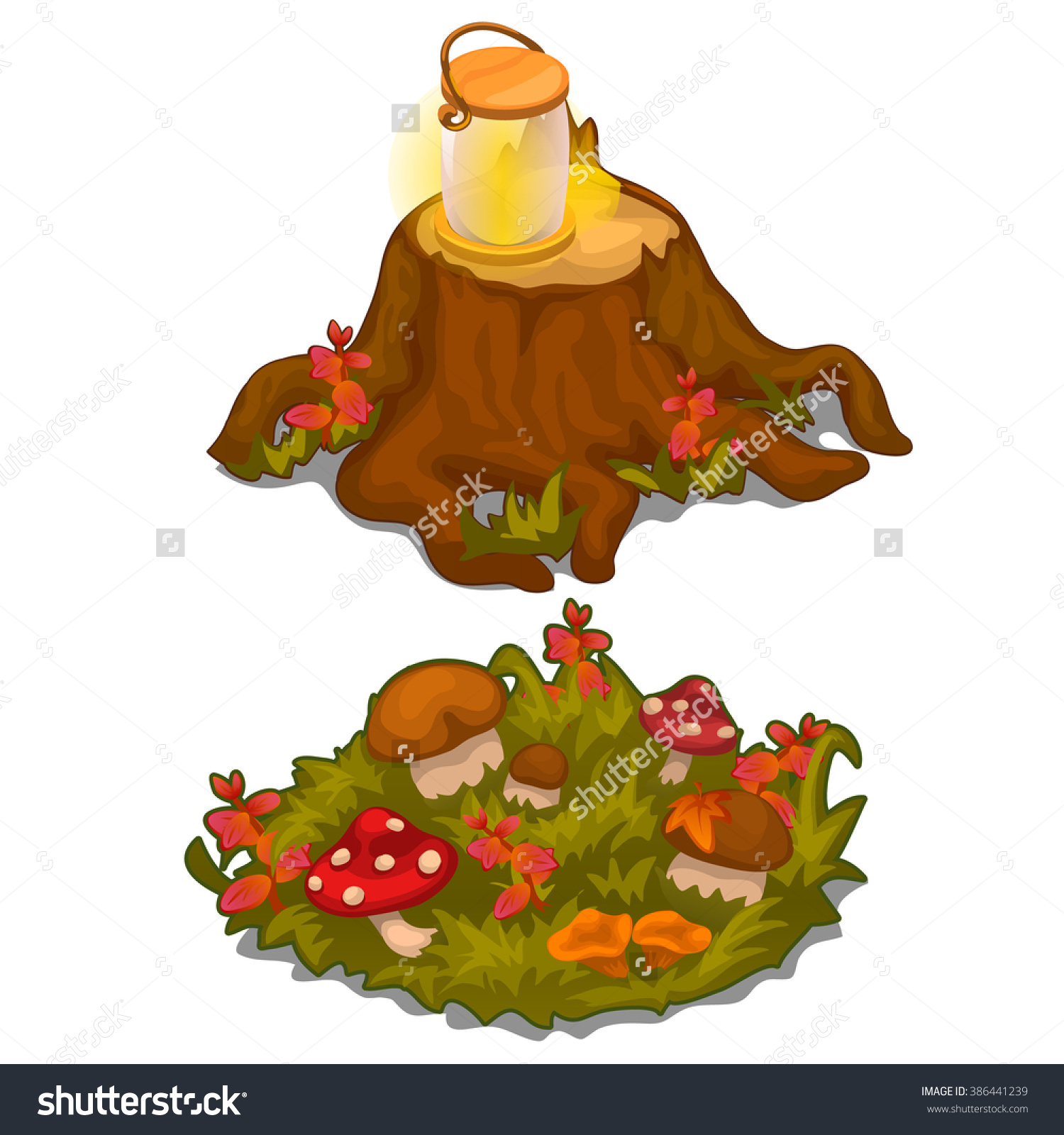 Old Stump And Meadow Mushrooms. Vector Illustration..