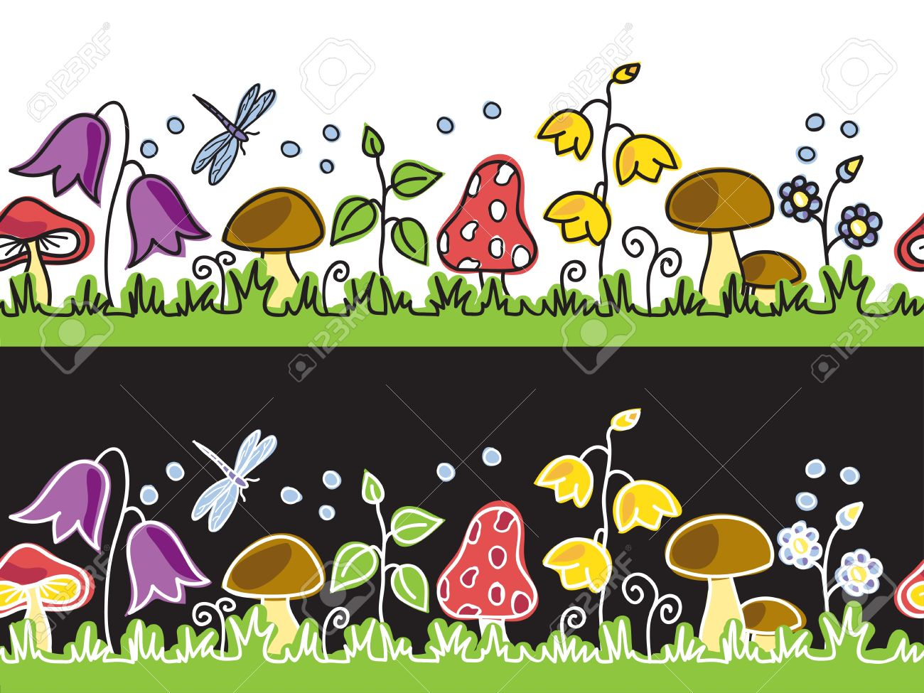 Summer Flowers And Mushrooms On Meadow.