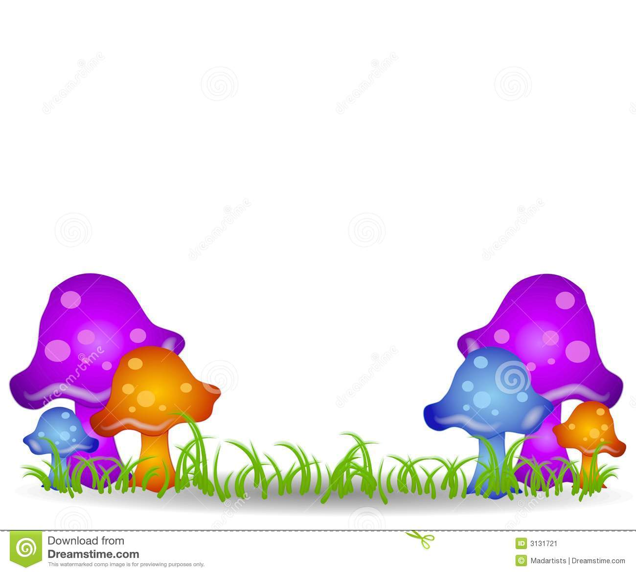 Mushrooms In Field Clip Art 2 Stock Image.