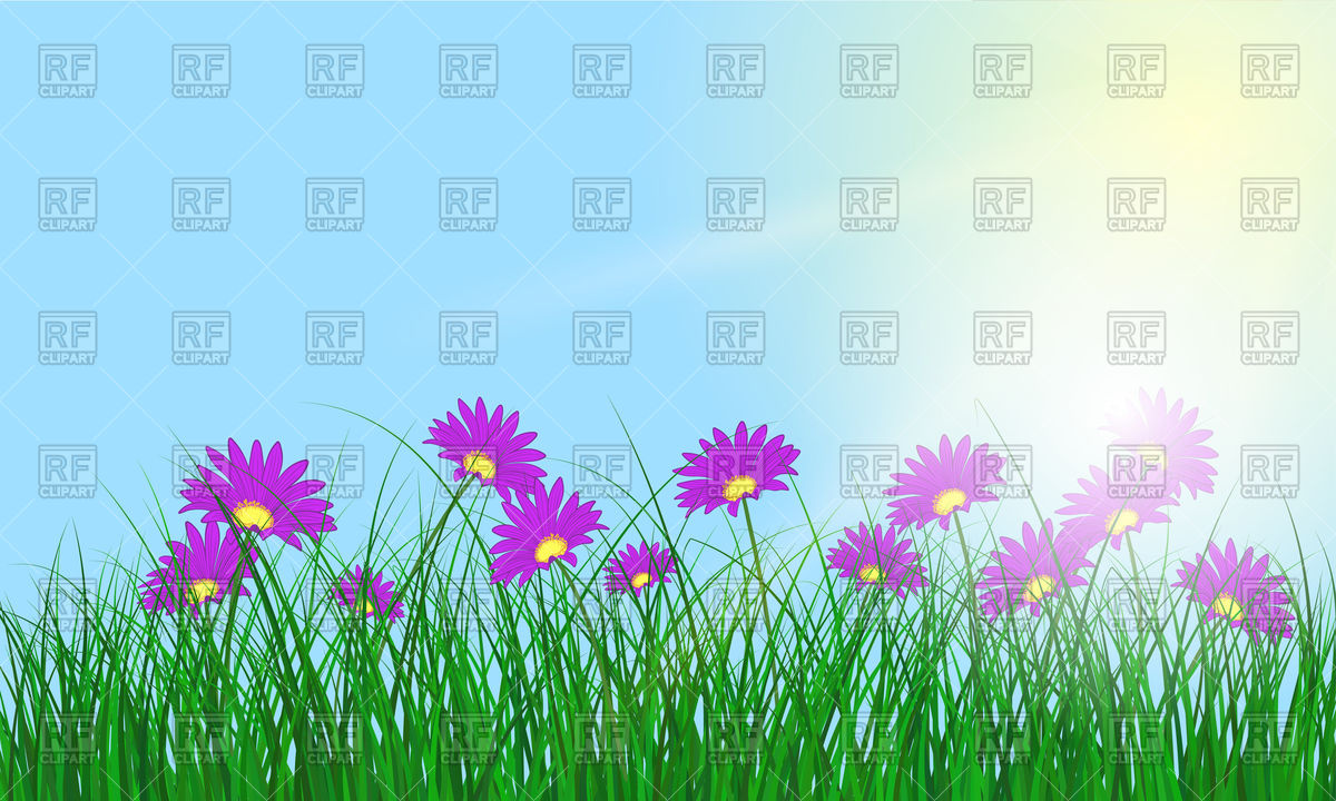Meadow background with sun and flowers Vector Image #108996.