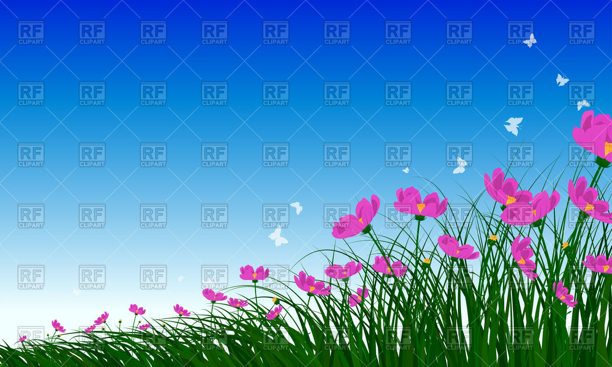 Meadow background with flowers and butterflies Vector Image.
