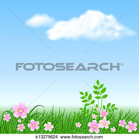 Clipart of Meadow flowers on the sky background k13275624.